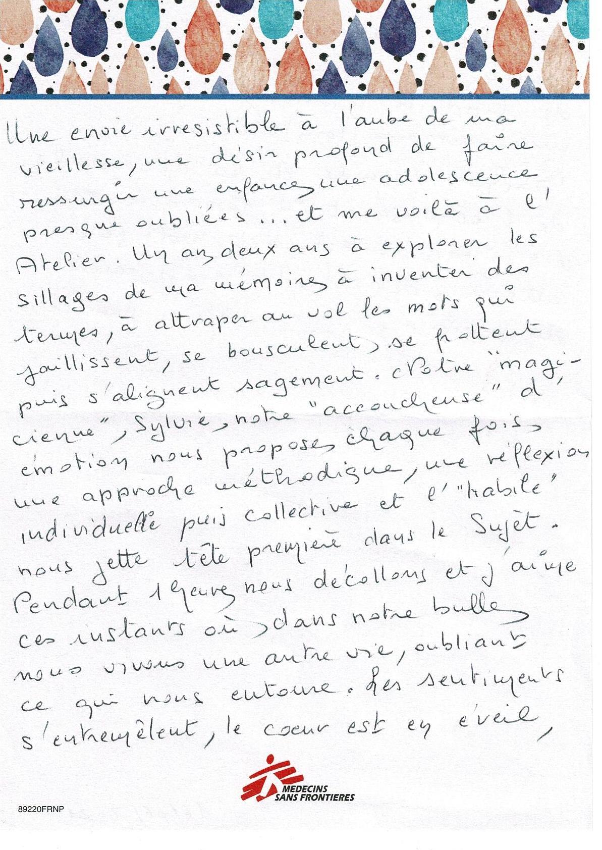 Témoignage d'une participante aux ateliers d'écriture d'Ecriture & Papyrus